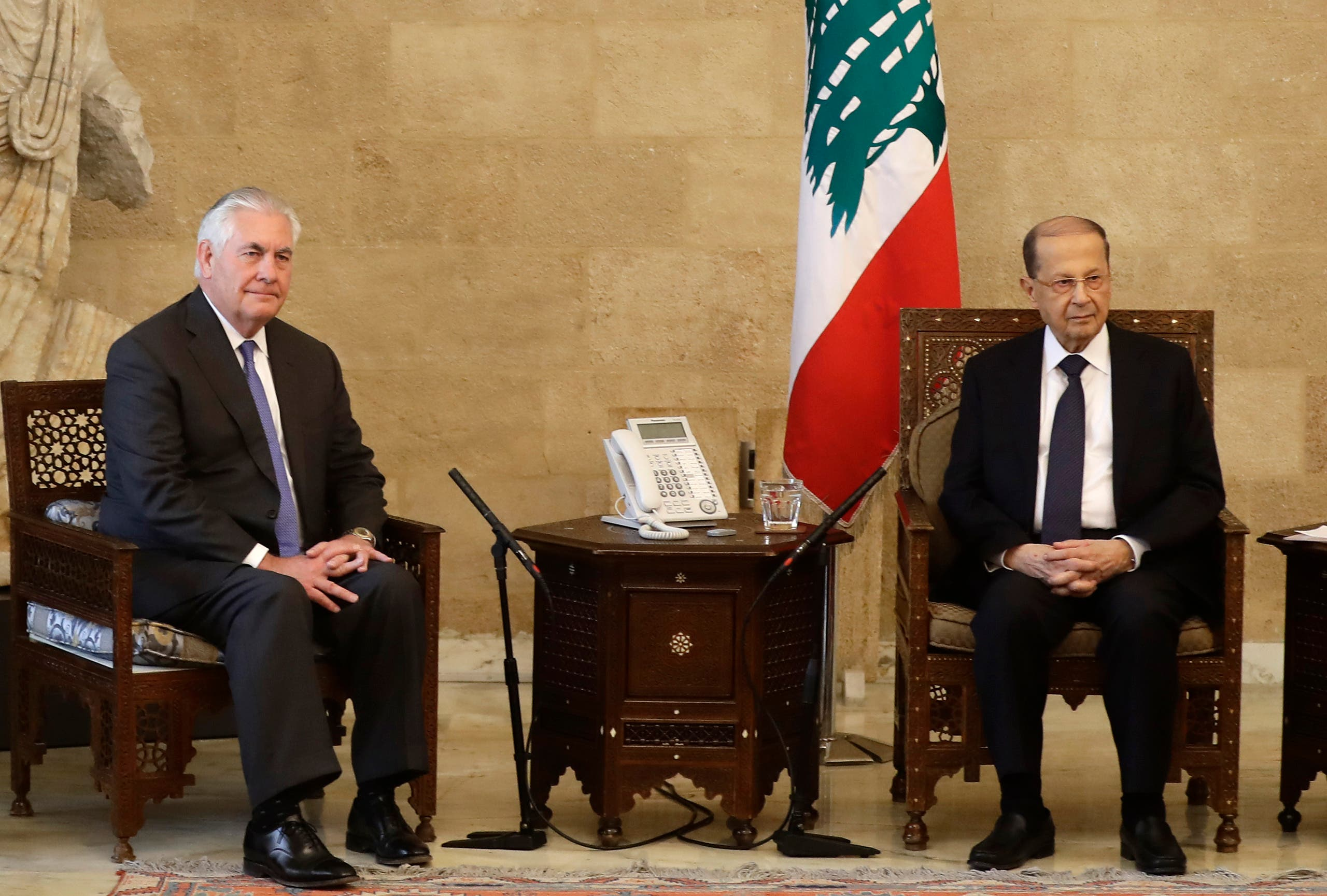 US Secretary of State Rex Tillerson (L) meets with Lebanese President Michel Aoun at the presidential palace in Baadba on the outskirts of the capital Beirut on February 15, 2018.  Joseph EID / AFP