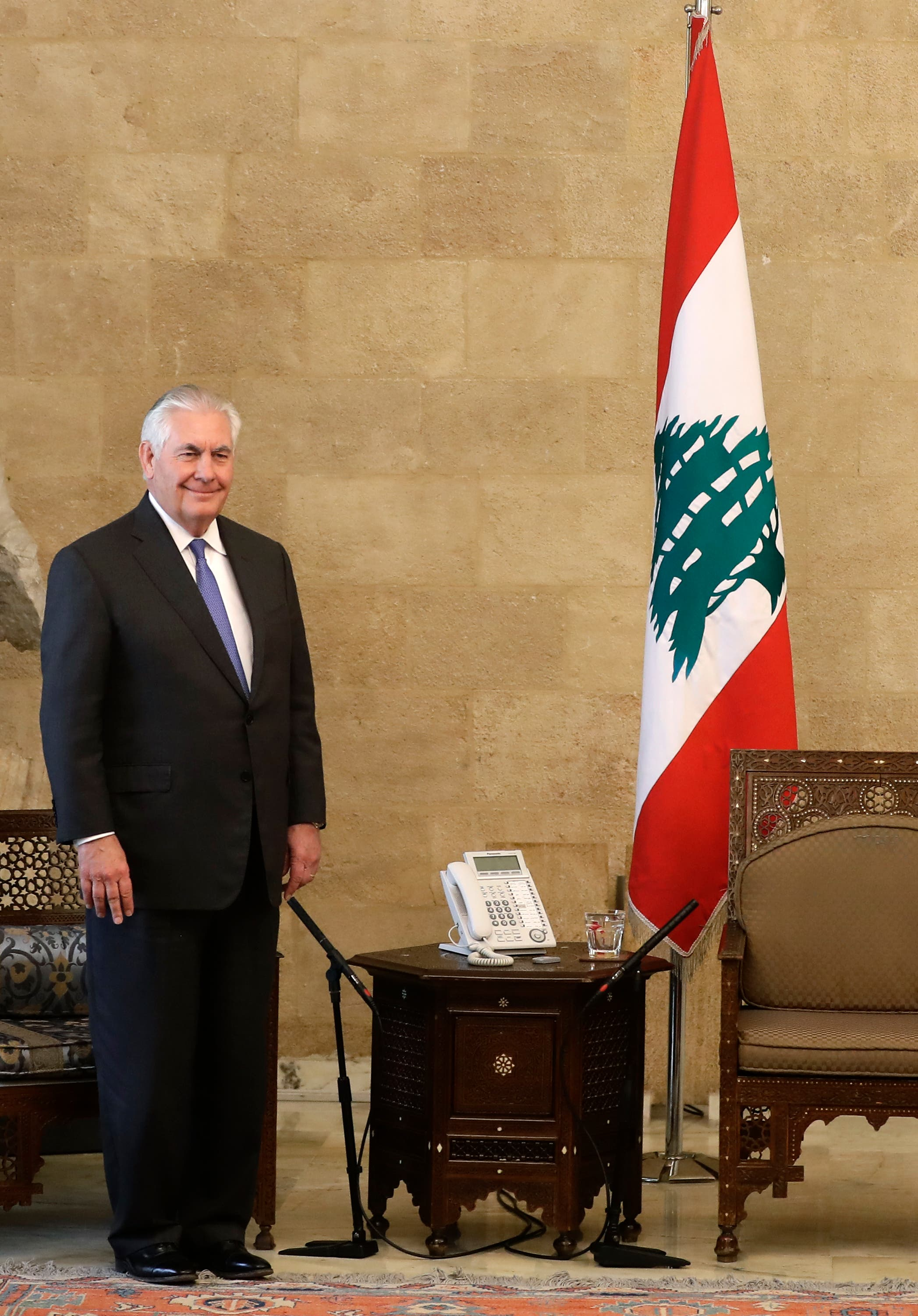 U.S. Secretary of State Rex Tillerson is seen at the presidential palace in Baabda, Lebanon February 15, 2018. REUTERS/Mohamed Azakir