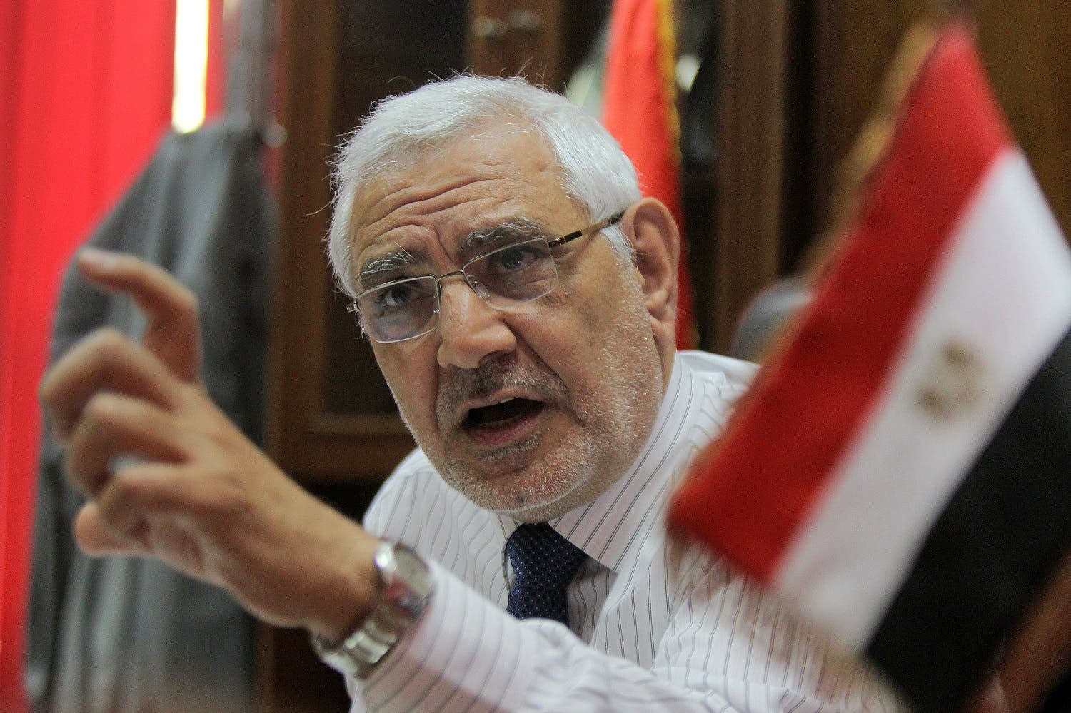 Abdel Moneim Abul Fotouh speaks during an interview with AFP at his office in Cairo on May 25, 2011. (AFP)