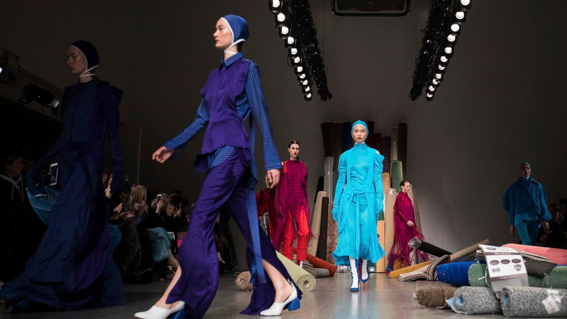 Models wear creations by designer Richard Malone at the Autumn/Winter 2018 fashion week runway show in London, Friday, Feb. 16, 2017.(Photo by Vianney Le Caer/Invision/AP)