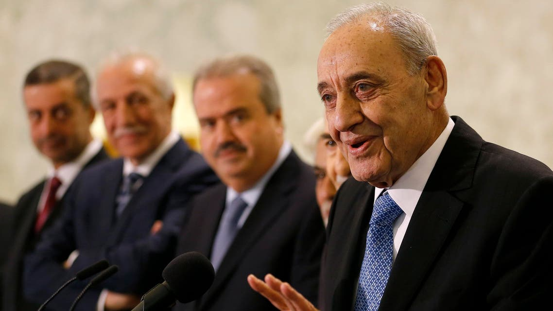 Parliament Speaker Nabih Berri (R) speaks to the press following the appointment of Lebanon's new prime minister at the presidential palace in Baabda, near Beirut, on November 3, 2016. Saad Hariri was nominated to form a cabinet by his one-time political adversary, President Michel Aoun, who took office this week after receiving the surprise support of his old foe.  ANWAR AMRO / AFP