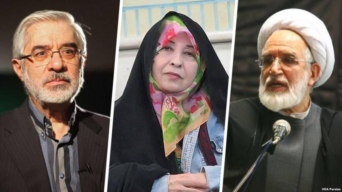 من اليسار- مير حسين موسوي وزوجته زهراء رهنورد ومهدي كروبي