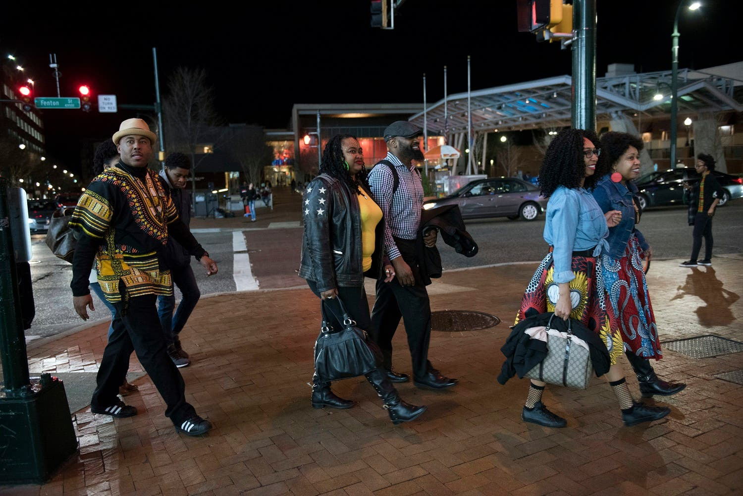 Emanuel Lawton (left), and his family dressed in Wakanda-inspired attire arrive to see Black Panther in Silver Spring, Md., on Feb. 15, 2018. (AP)