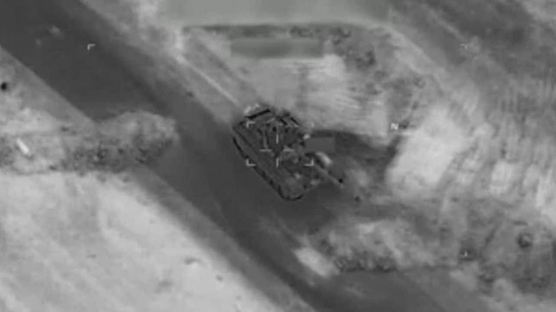 A Russian-made tank seconds before it was destroyed by a US drone near Deir Ezzor, three days after Russian fighters were killed there. (Credit: CNN)