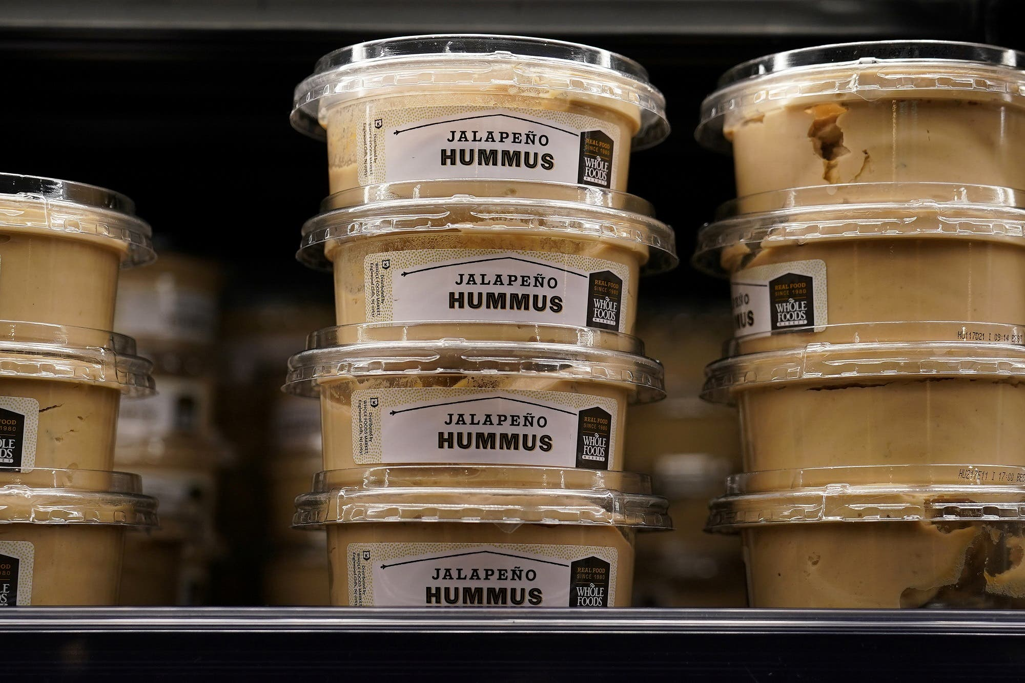 Hummus for sale is pictured inside a Whole Foods Market in the Manhattan borough of New York City, New York on June 16, 2017. (Reuters)