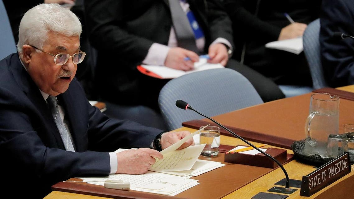 Palestinian President Mahmoud Abbas speaks during a meeting of the United Nations (UN) Security Council at UN headquarters in New York, US, February 20, 2018. (Reuters)