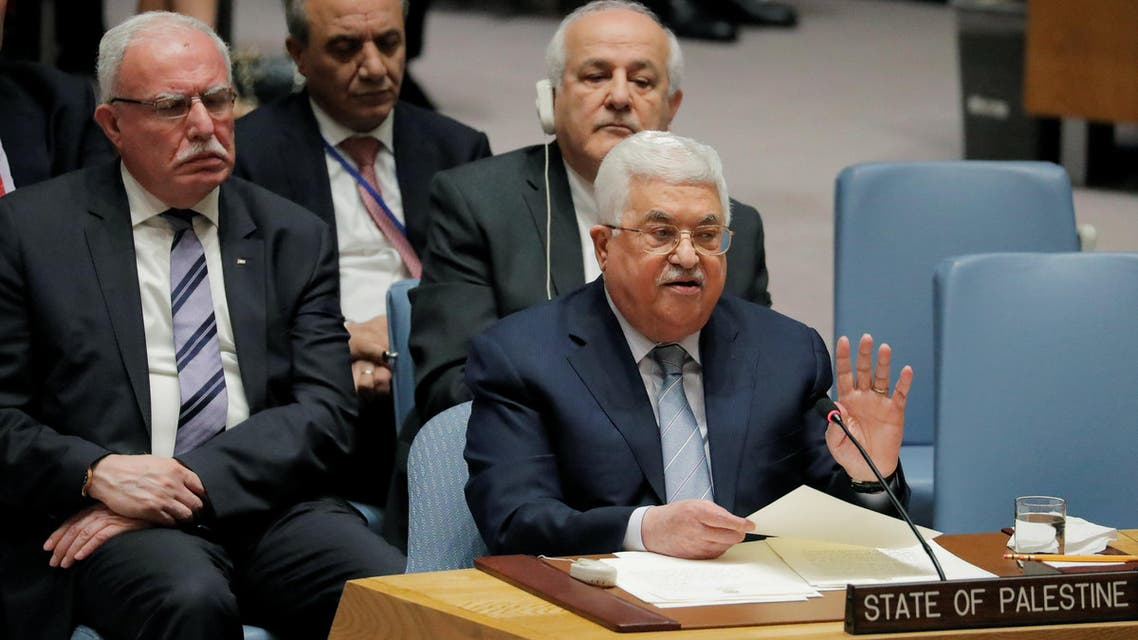 Palestinian President Mahmoud Abbas speaks during a meeting of the United Nations (UN) Security Council at UN headquarters in New York, U.S., February 20, 2018. REUTERS/Lucas Jackson