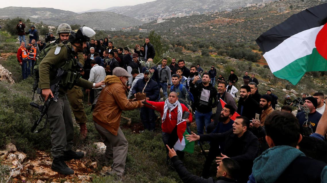 Palestinians try to plant olive trees as Israeli troops stand guard during a protest near Nablus on February 15, 2018. (Reuters)
