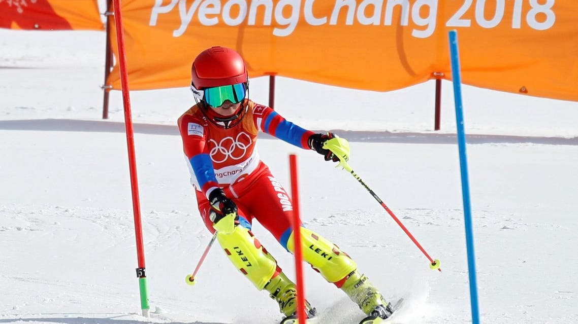 Kim Ryon Hyang of North Korea competes in the Women's Slalom Alpine Skiing  at the Pyeongchang 2018 Winter Olympics. (Reuters)
