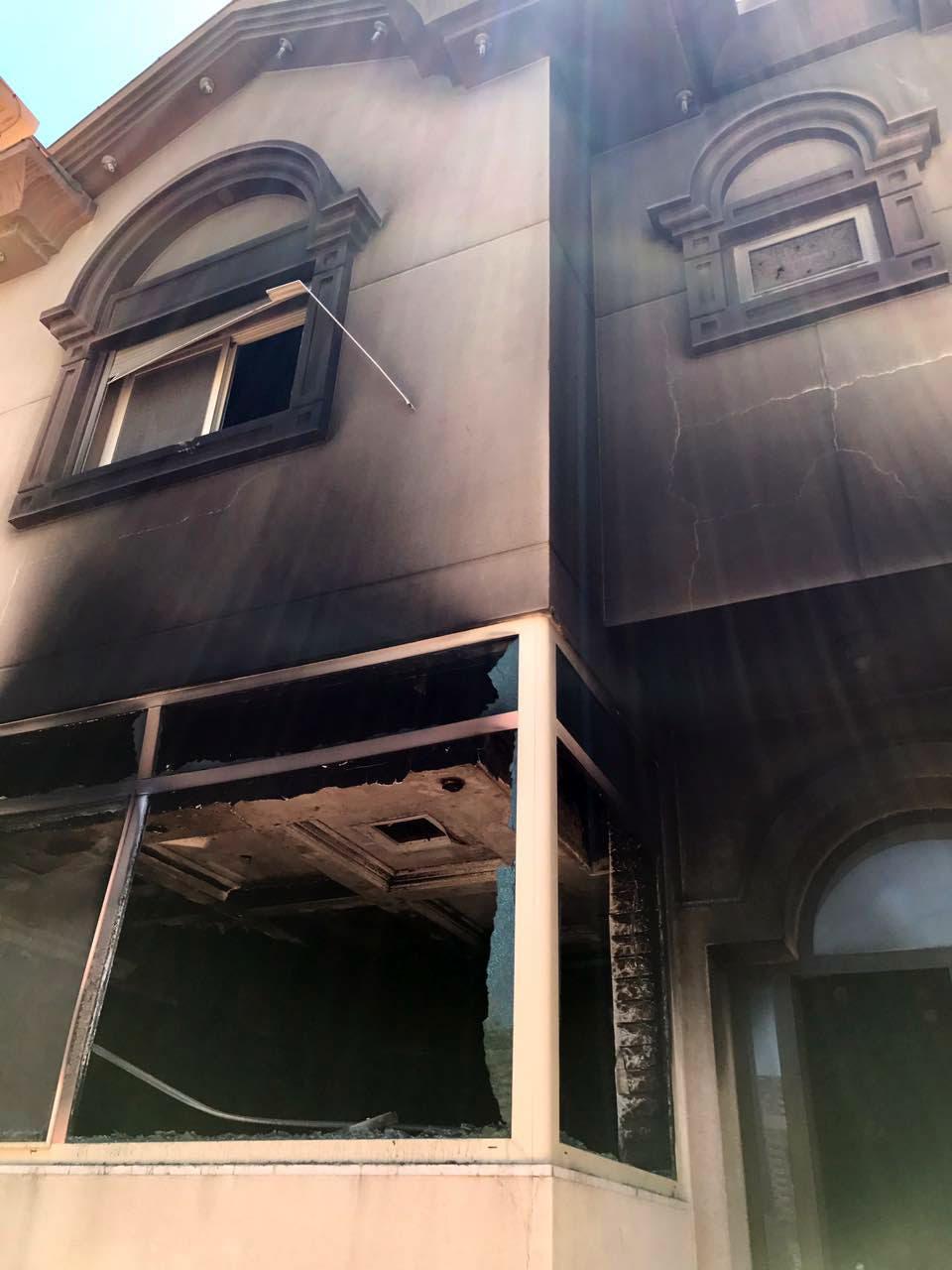 منزل البراهيم بعد تعرضه للحريق من قبل الارهابيين