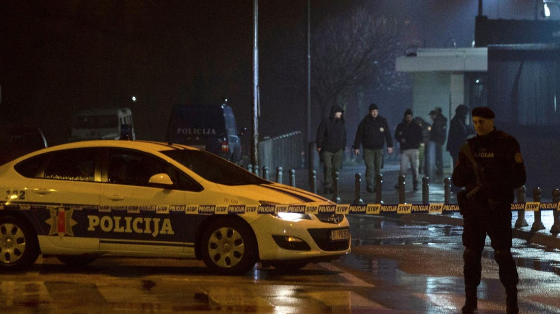 Police guard the entrance to the US embassy building in Podgorica, Montenegro, on February 22, 2018. (Reuters)