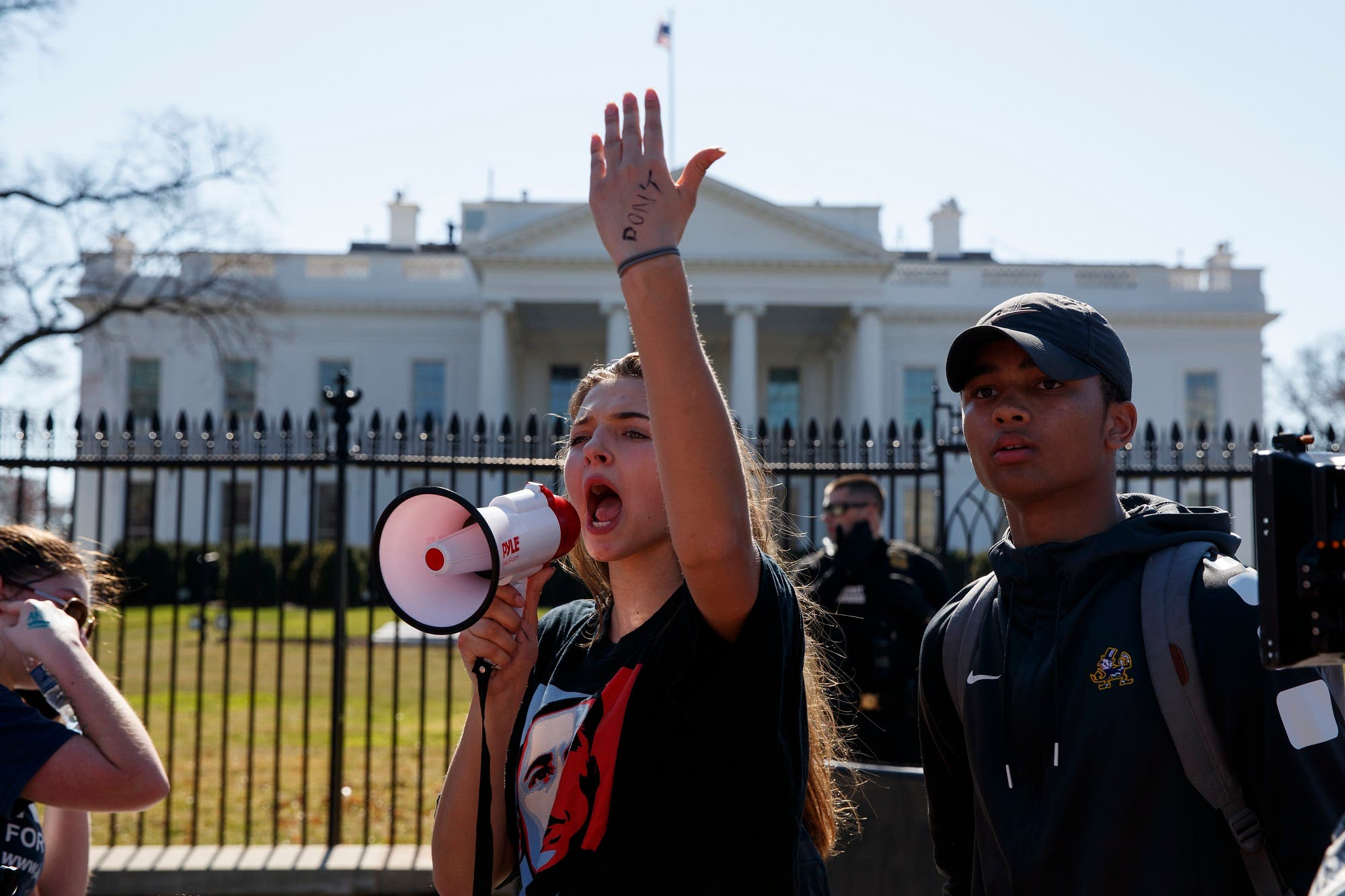 Sofia Hidalgo, 15, of Glenmont, Md., chants during a student protest for gun control legislation in front of the White House on Feb. 21, 2018, in Washington. (AP)