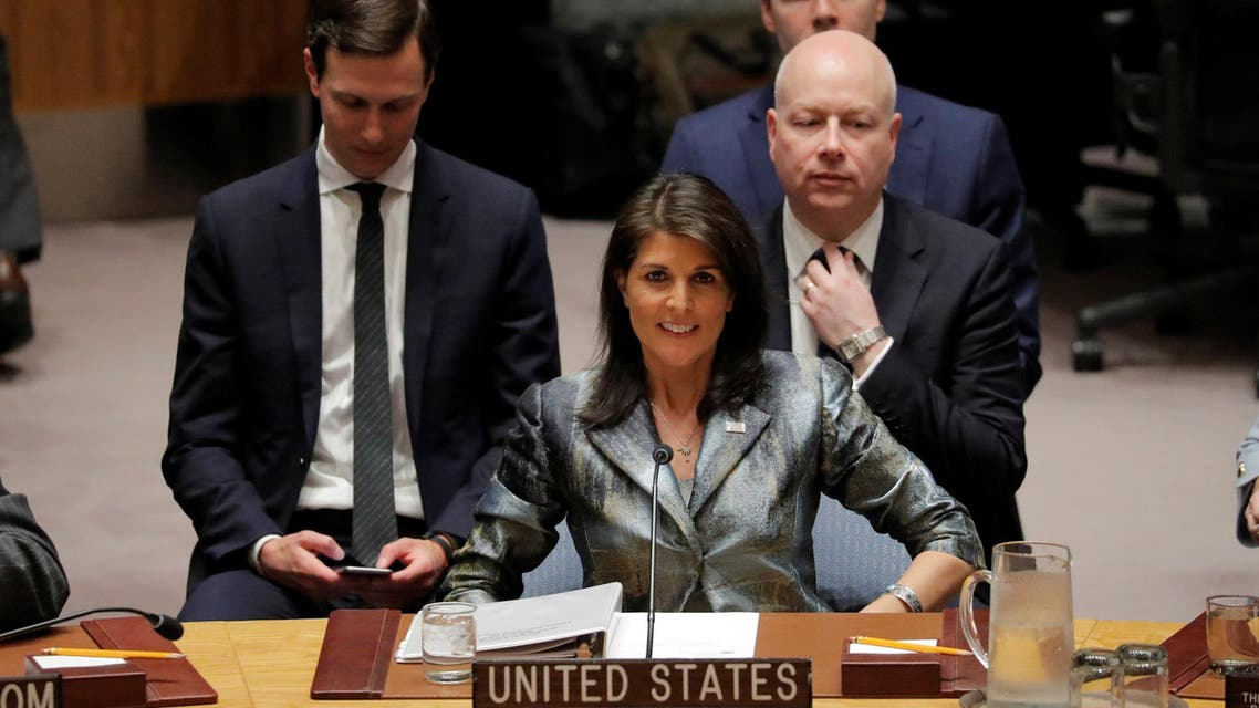 Nikki Haley at a meeting of the UN Security Council in New York on February 20, 2018. (Reuters)
