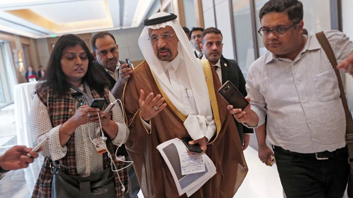 Saudi Arabia's Energy Minister Khalid al-Falih talks to the media as he leaves after a meeting in New Delhi, India, on February 23, 2018. (Reuters)