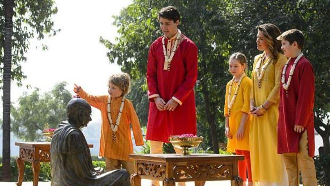 رئيس الوزراء الكندي وعائلته أثناء زيارة الهند