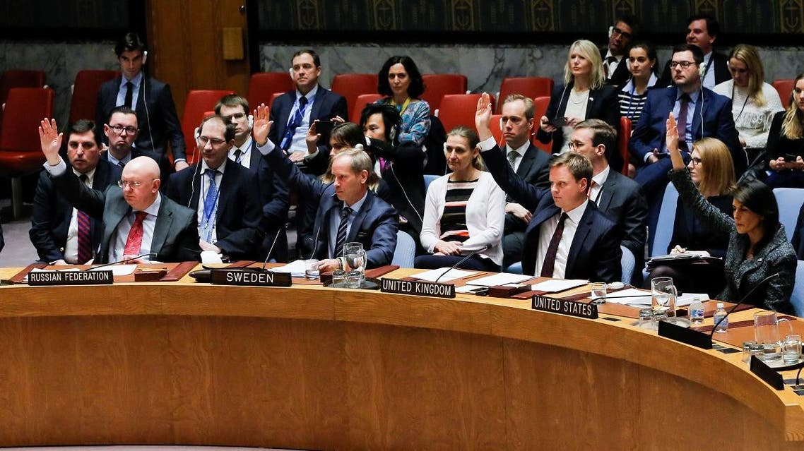 Members of the United Nations Security Council vote for ceasefire to Syrian bombing in eastern Ghouta. (Reuters)