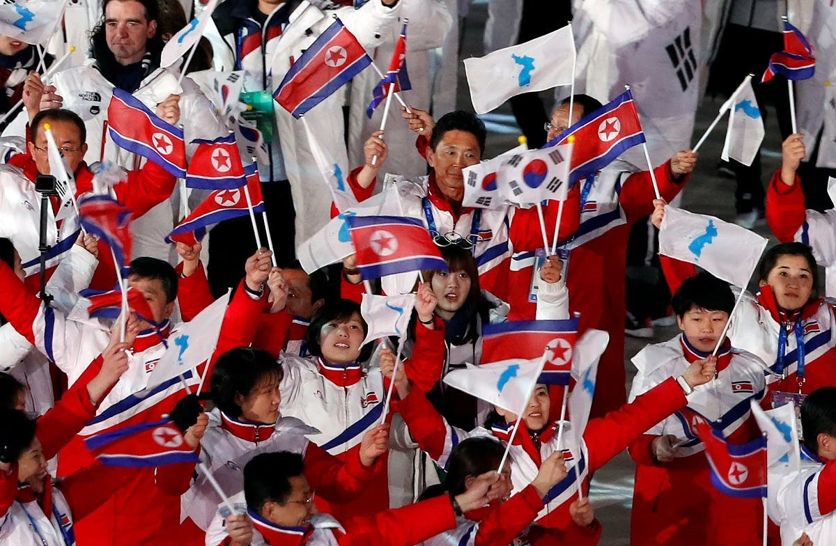 Athletes from North Korea and South Korea during the closing ceremony. (Reuters)