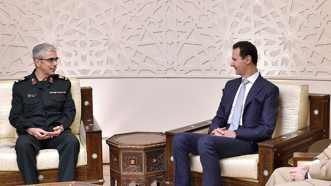 رئيس الأركان الإيراني محمد باقري مع بشار الأسد في أكتوبر 2017