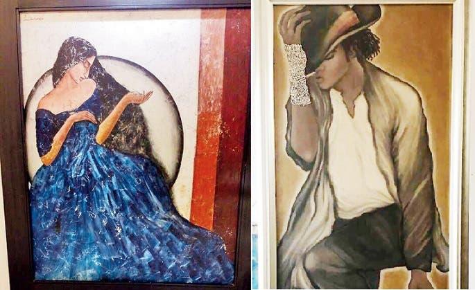 الى اليمين لوحتها للراحل مايكل جاكسون، والثانية رسمتها للنجمة الهندية سونام كابور