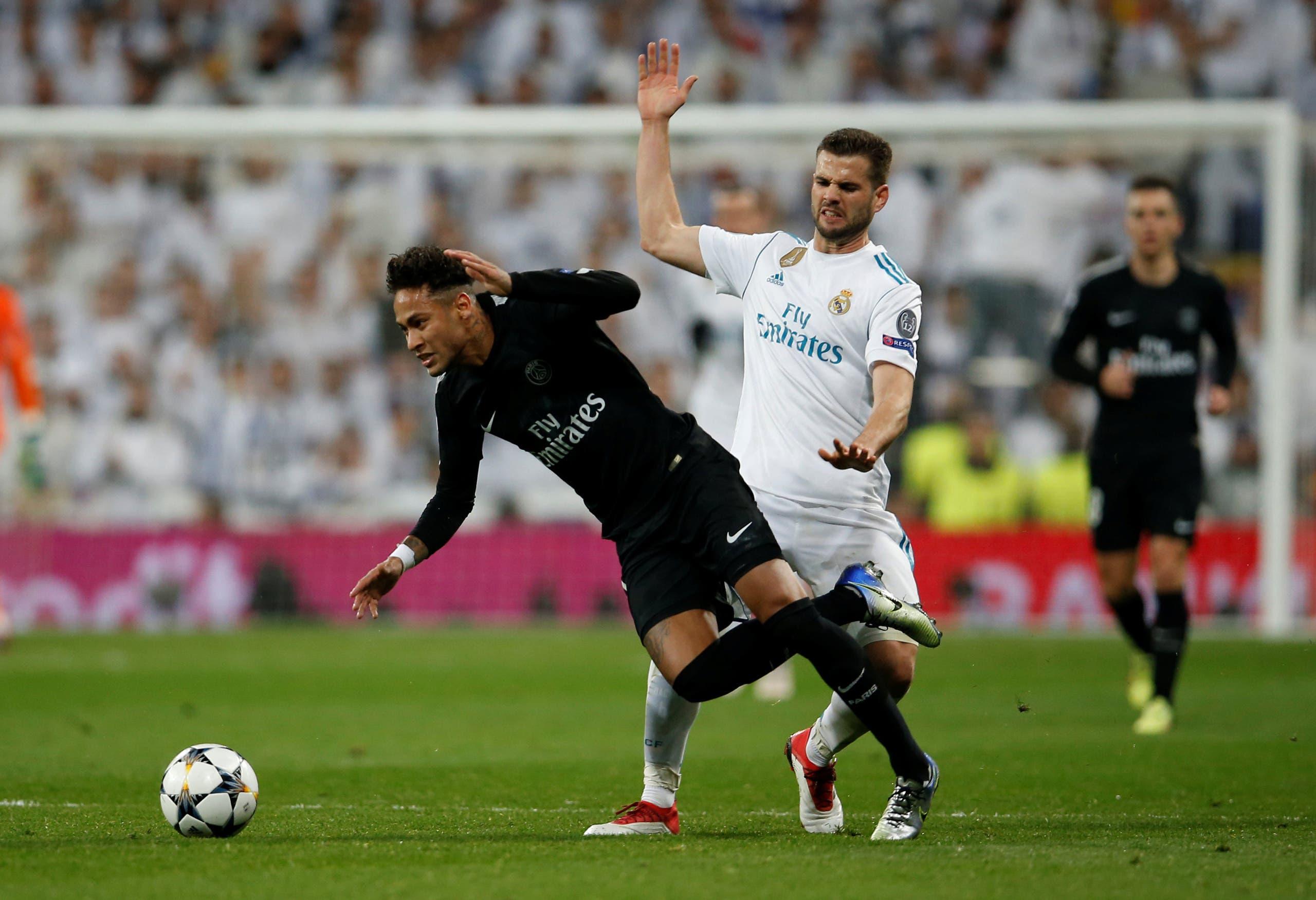 نيمار خلال مواجهة الذهاب في ثمن نهائي دوري الأبطال أمام ريال مدريد في موسم 2017-2018