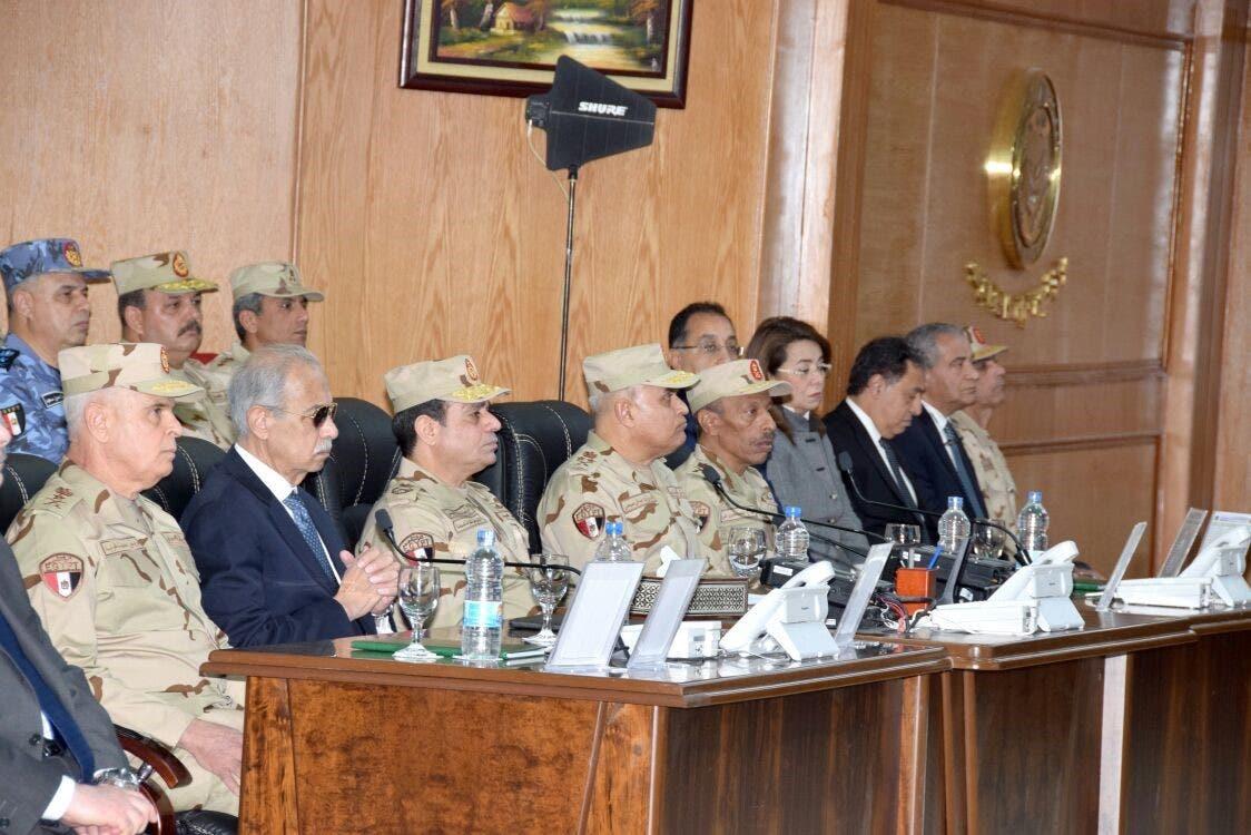 السيسي خلال افتتاحه قيادة قوات شرق القناة لمكافحة الإرهاب الأحد