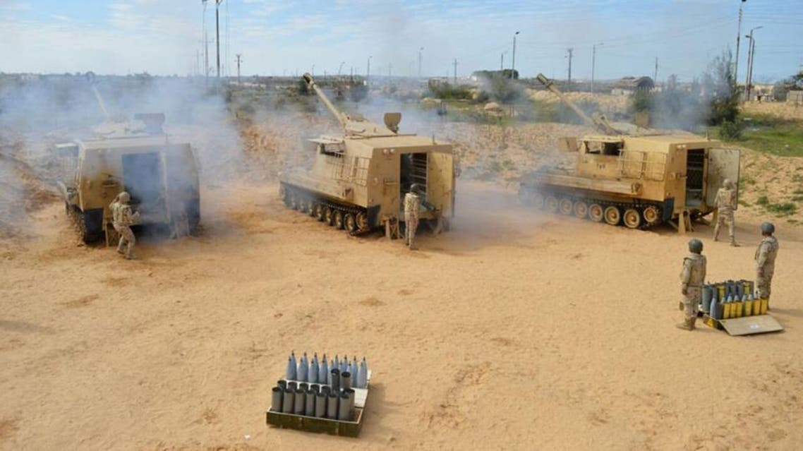 Egyptian Army's soldiers fire artilleries during a launch of a major assault against militants in the troubled northern part of the Sinai peninsula in Al Arish. (Reuters)