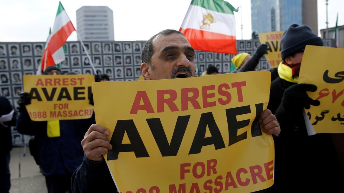 Iran protest in front of UN geneva. (Reuters)