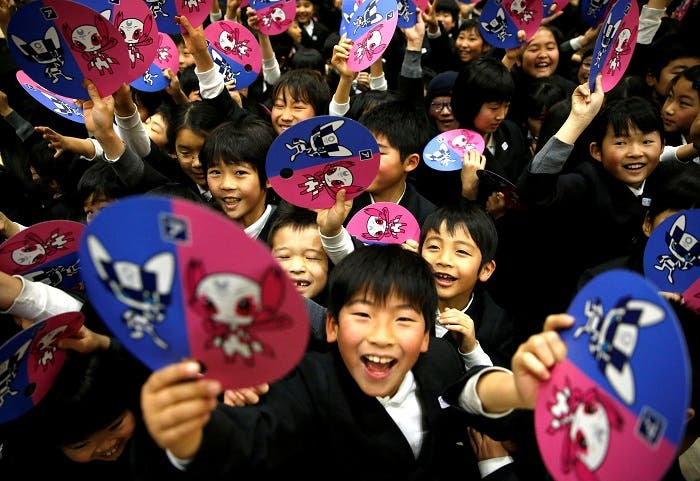 Tokyo Olympics organizers unveiled the mascots selected by popular vote by elementary students across Japan at the Hoyonomori Gakuen School in Tokyo, Japan, February 28, 2018. (Reuters)