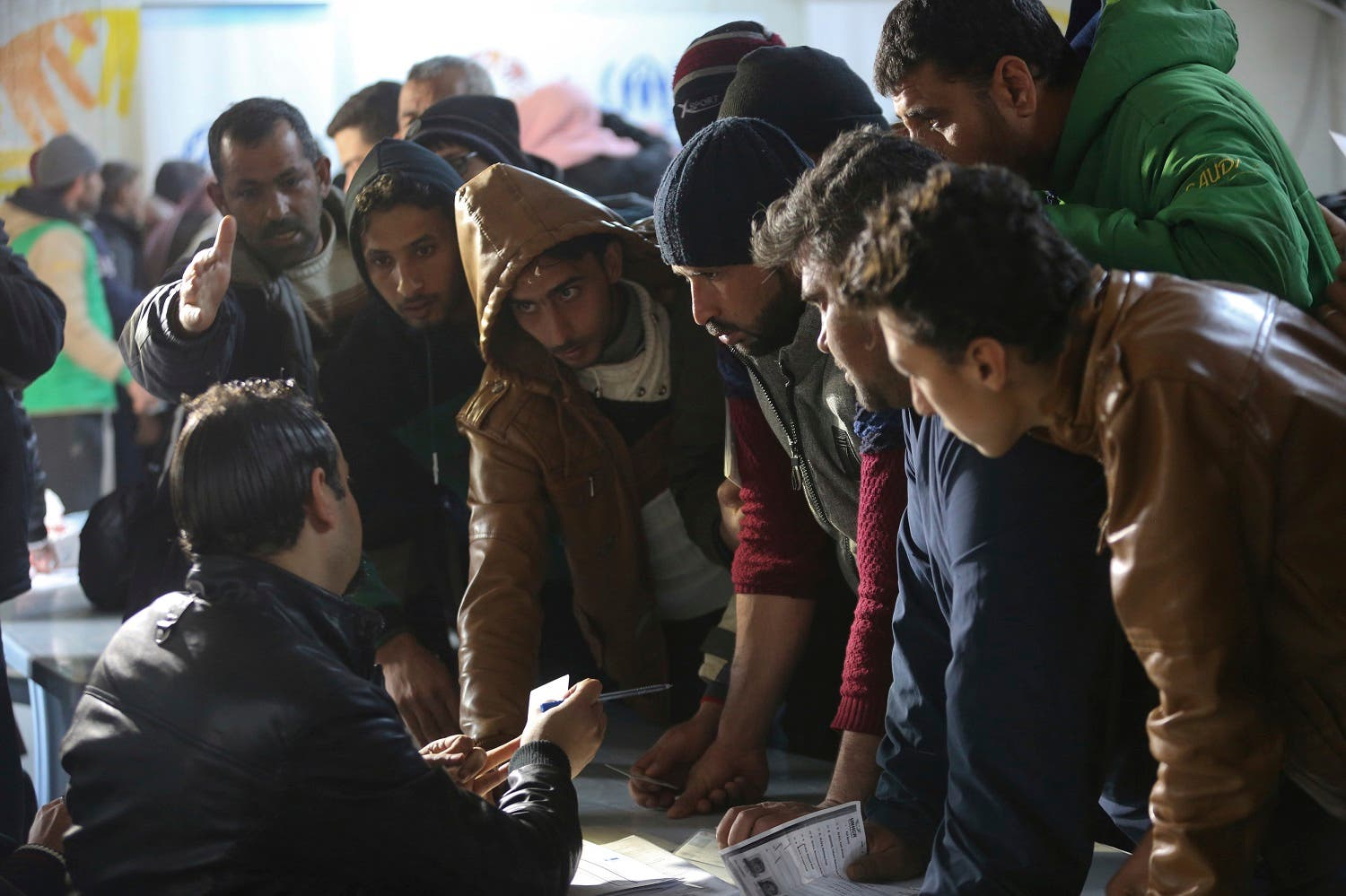 Syrian refugees register at an employment office at the Azraq Refugee Camp on Feb. 18, 2018. (AP)