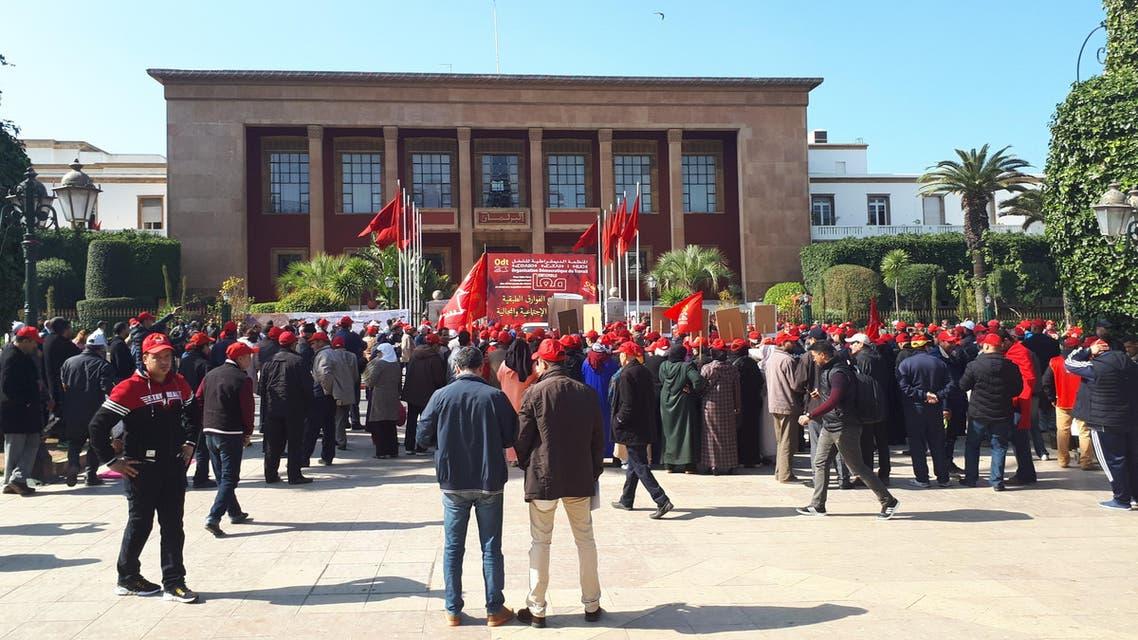 من احتجاج اجتماعي قبالة مقر البرلمان في العاصمة الرباط