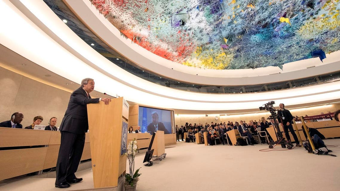 United Nations Secretary General Antonio Guterres addresses the 37th session of the United Nations Human Rights Council on February 26, 2018 in Geneva.(AFP)