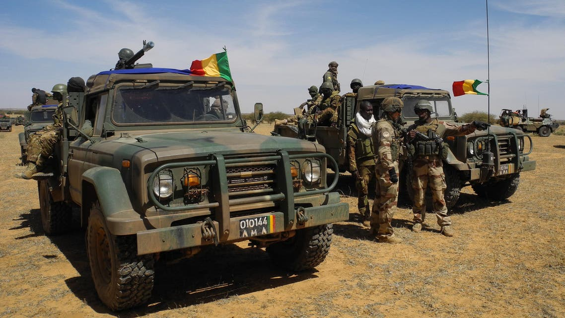 A picture taken on November 1, 2017 shows vehicules of the Malian army taking part in the 'Hawbi' tactical coordination operation in central Mali, in the border zone with Burkina Faso and Niger as a joint anti-jihadist force linking countries in the Sahel began operations on November 1. The world's newest joint international force, the five-nation G5 Sahel plans to number up to 5,000 military, police and civilian troops by March 2018. The 5,000 will comprise two battalions each from Mali and Niger and one each from Burkina Faso, Chad and Mauritania.  Daphné BENOIT / AFP
