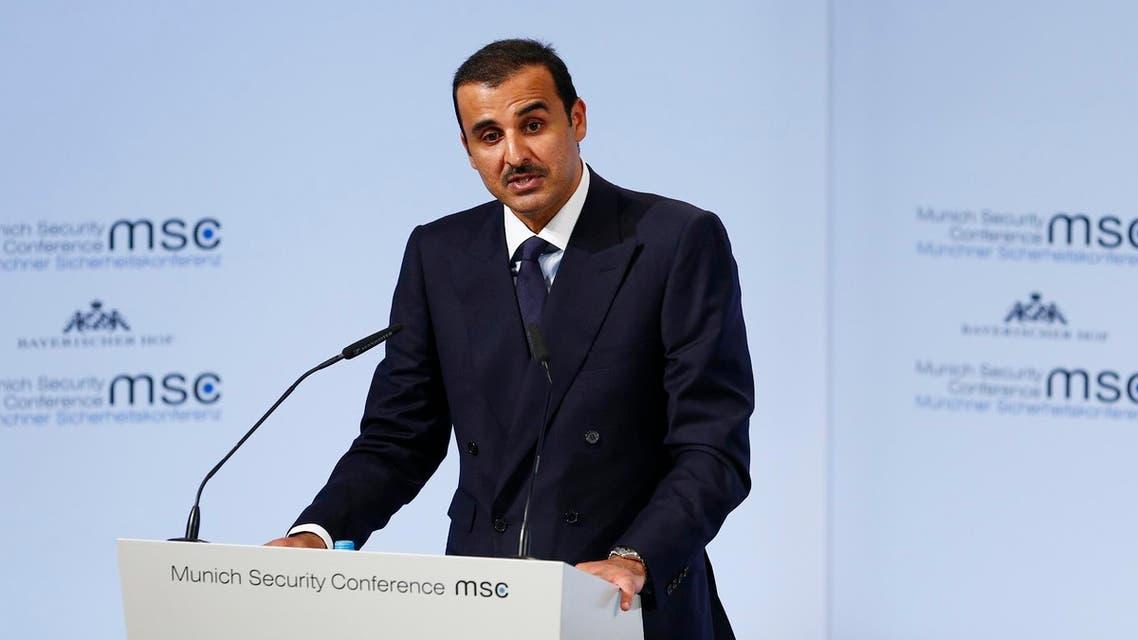 Emir of Qatar Sheikh Tamim bin Hamad al-Thani talks at the Munich Security Conference in Munich, Germany, February 16, 2018. (Reuters)