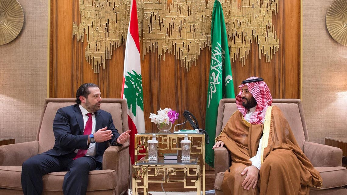 A handout picture provided by the Saudi Royal Palace on March 30, 2017 shows Deputy Crown Prince Mohammed bin Salman (R), the kingdom's defence minister, meeting with Lebanese premier Saad Hariri in Riyadh. Hariri is in Riyadh for talks, in the first official visit as PM and after his financial empire in the kingdom ran into trouble.  BANDAR AL-JALOUD / Saudi Royal Palace / AFP
