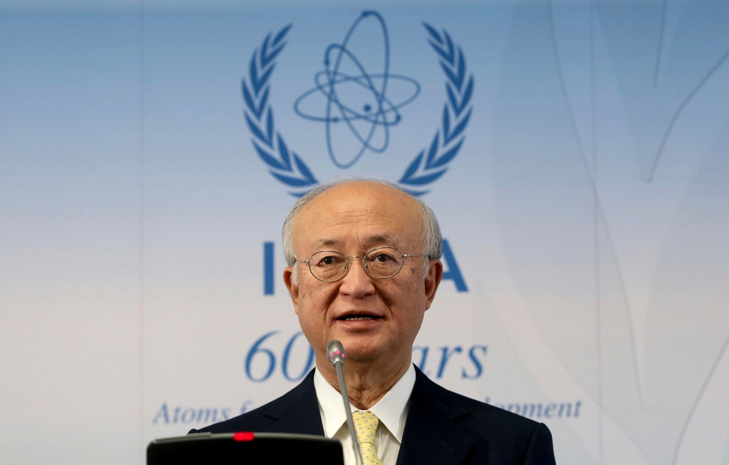 Director General of IAEA, Yukiya Amano of Japan, during a news conference in Vienna, on Nov. 23, 2017. (AP)