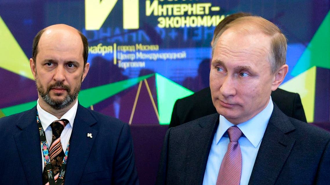 Russian President Vladimir Putin, right, and German Klimenko, chairman of the Board of the Institute of the Internet. (AP)