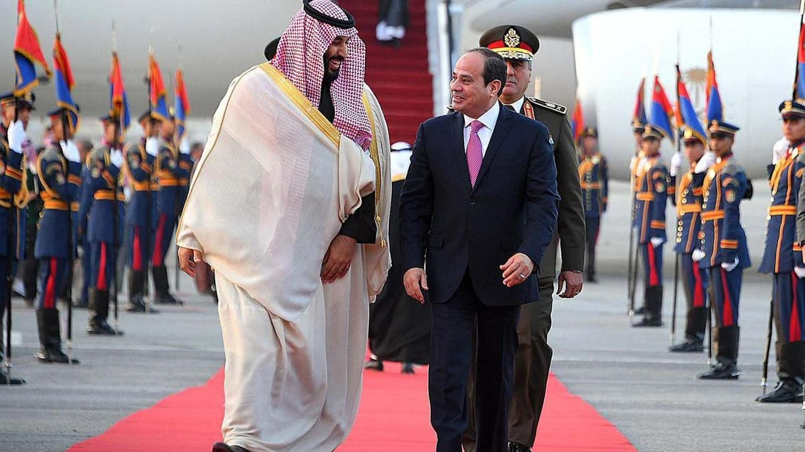 Prince Mohammed and Sisi agreed in talks to bolster economic ties and launch joint projects. (Egyptian Presidency handout)