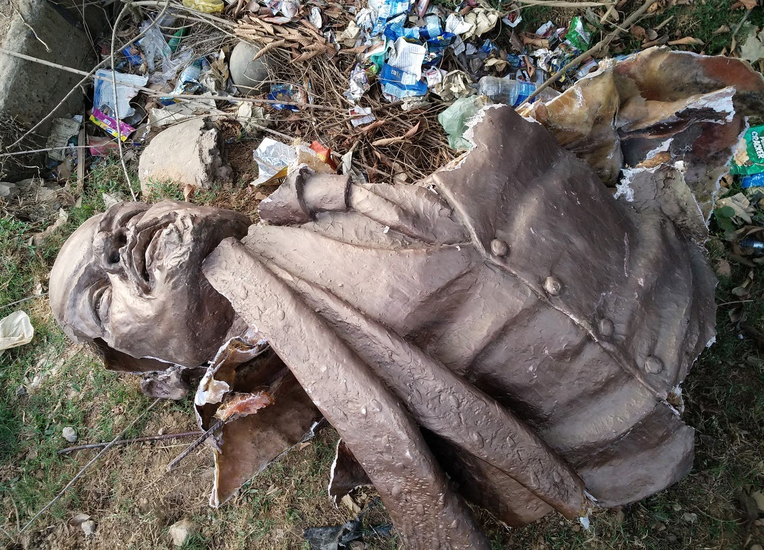 The Lenin statue bust on the ground after supporters of BJP toppled the statue 76 kms south of Agartala bust on March 5, 2018. (AFP)