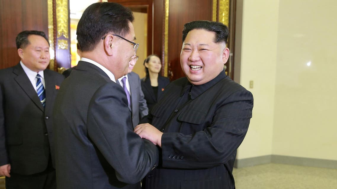 Kim Jong Un greets a member of the special delegation of South Korea's President at on March 6, 2018. (Reuters)