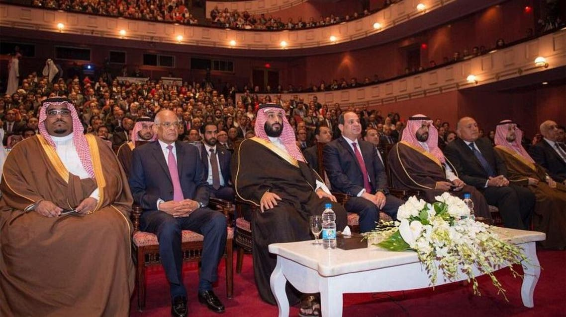 Saudi Crown Prince Mohammed bin Salman visited the Egyptian Opera House on Monday. (SPA)