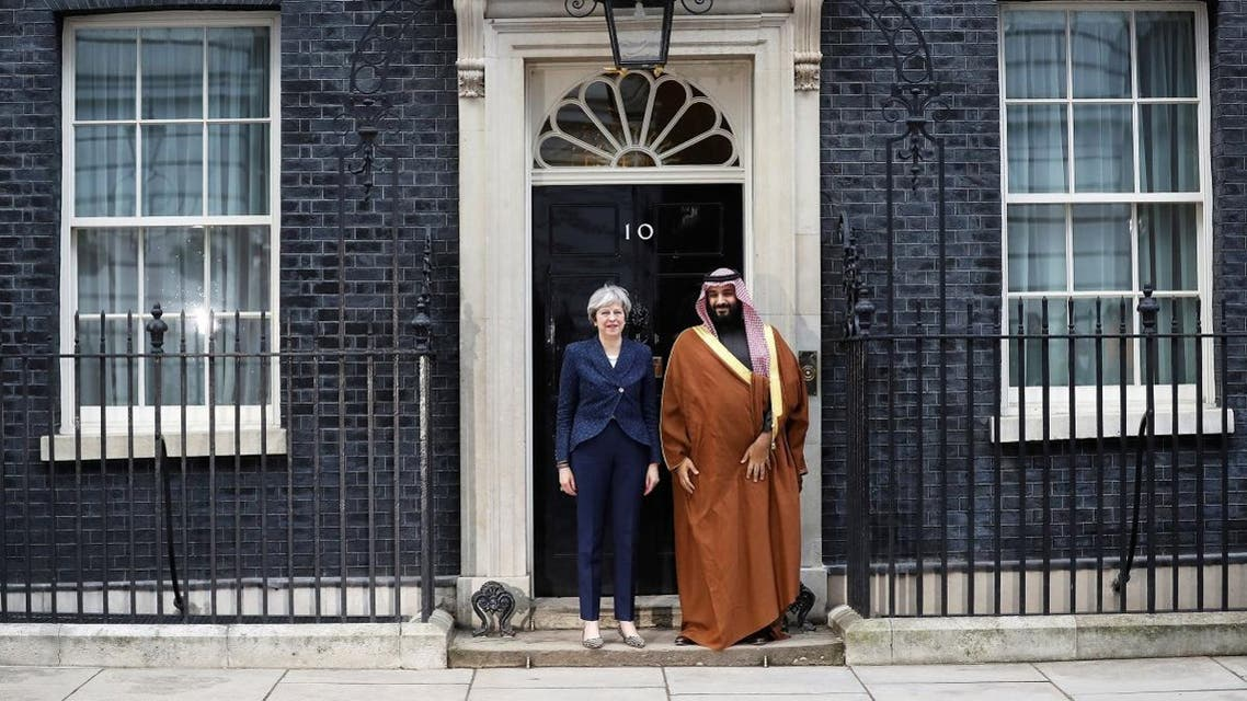 Britain's Prime Minister Theresa May greets the Crown Prince of Saudi Arabia Mohammad bin Salman outside 10 Downing Street in London. (Reuters)