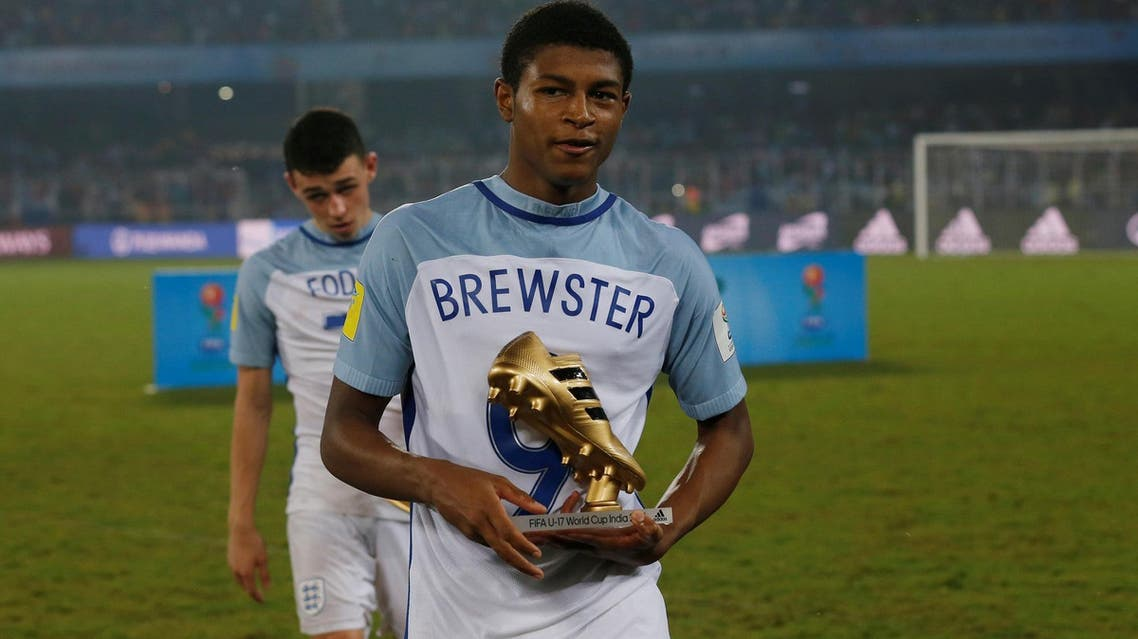 Brewster wins the Golden Boot for the 2017 FIFA U-17 World Cup in Kolkata, India, on October 28, 2017. (Reuters)