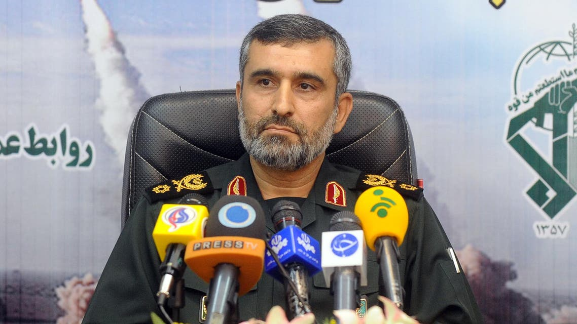 """A picture obtained on August 25, 2014 from Iran's ISNA news agency and taken on January 7, 2012 shows General Amir-Ali Hajizadeh, commander of aerial forces of Iran's elite Revolutionary Guards giving a press conference in Tehran.Tehran will """"accelerate"""" arming Palestinians in retaliation for Israel deploying a spy drone over Iran, which was shot down, Amir-Ali Hajizadeh said on August 25, 2014. AFP PHOTO / ISNA NEWS AGENCY /AMIR KHOLOOSI AMIR KHOLOOSI / ISNA NEWS AGENCY / AFP"""