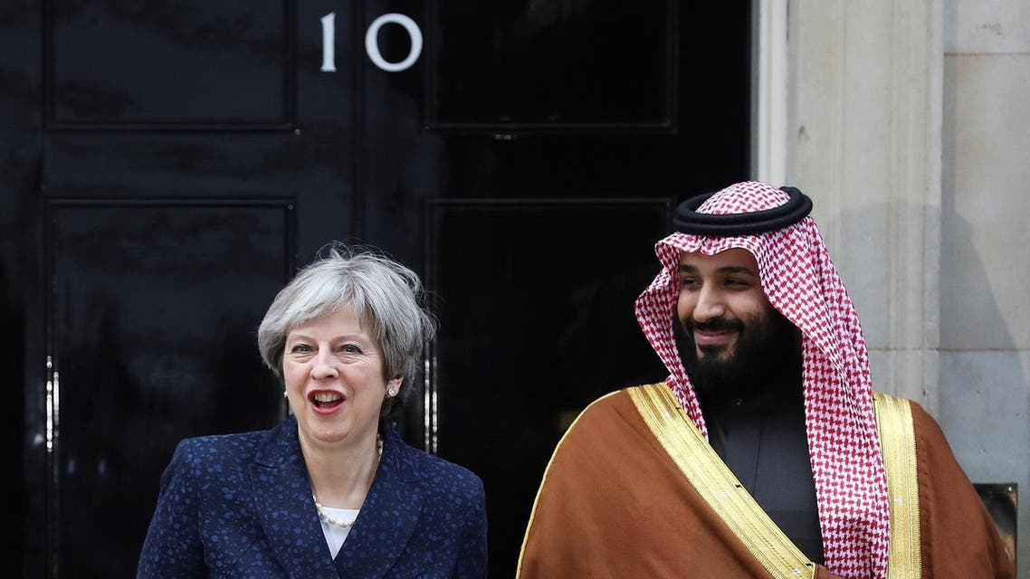 Britain's Prime Minister Theresa May greets the Crown Prince of Saudi Arabia Mohammad bin Salman outside 10 Downing Street in London, on March 7, 2018. (Reuters)