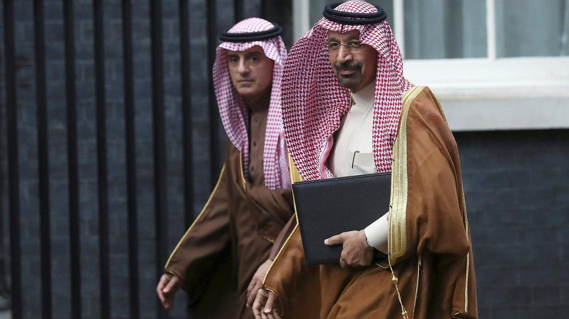 Saudi Arabia's Oil Minister and chairman of Saudi Aramco Khalid al-Falih and Foreign Minister Adel al-Jubeir arrive as Crown Prince Mohammad bin Salman meets Britain's Prime Minister Theresa May in Downing Street in London, on March 7, 2018. (Reuters)