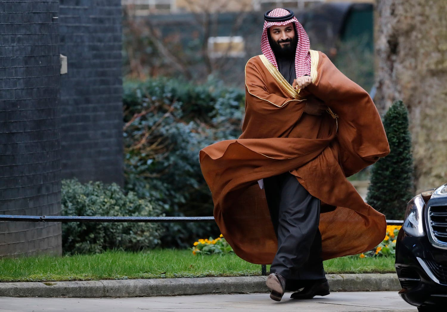 Saudi Arabia's Crown Prince Mohammed bin Salman arrives for talks at 10 Downing Street, in central London on March 7, 2018. (AFP)