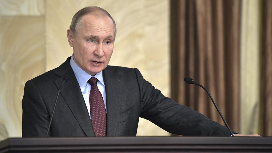 RUSSIA-PUTIN/ RTS1M8KJ 5 Mar. 2018 Moscow, Russia Russian President Vladimir Putin delivers a speech during a session of the Federal Security Service (FSB) board in Moscow, Russia March 5, 2018. (Reuters)