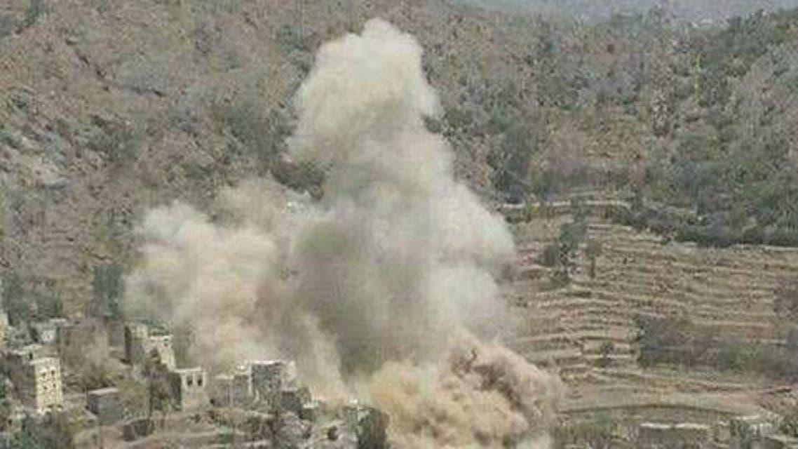 تفجير الحوثيين لاحد منازل المواطنين اليمنيين- ارشيفية