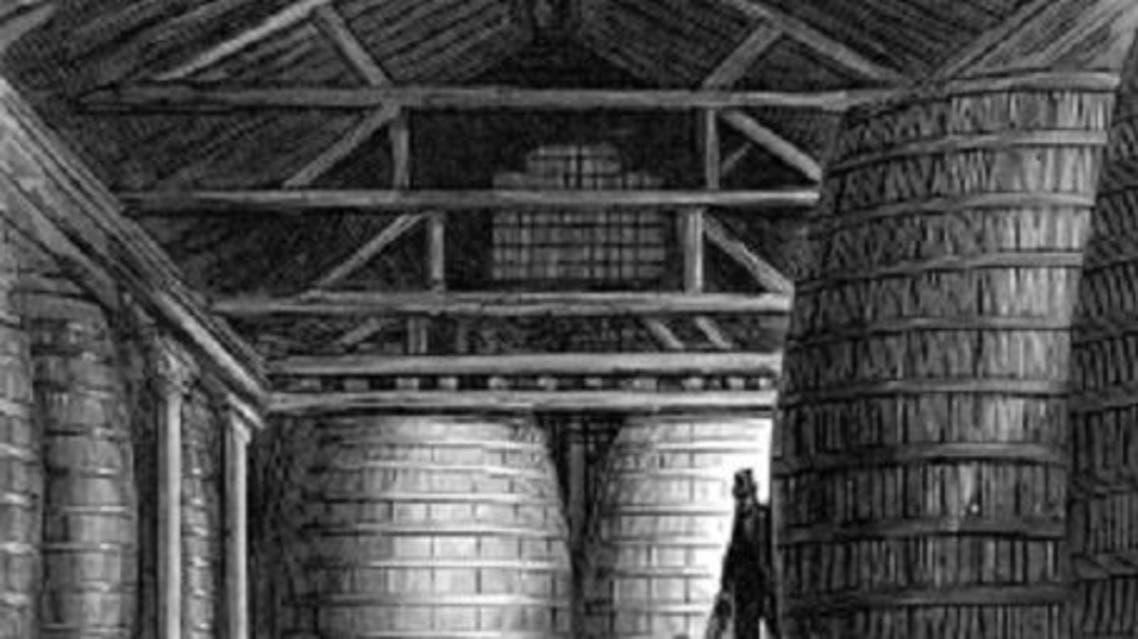 صورة لبراميل التخزين العملاقة التي إعتمدت مطلع القرن التاسع عشر بأنجلترا من أجل تخزين البيرة