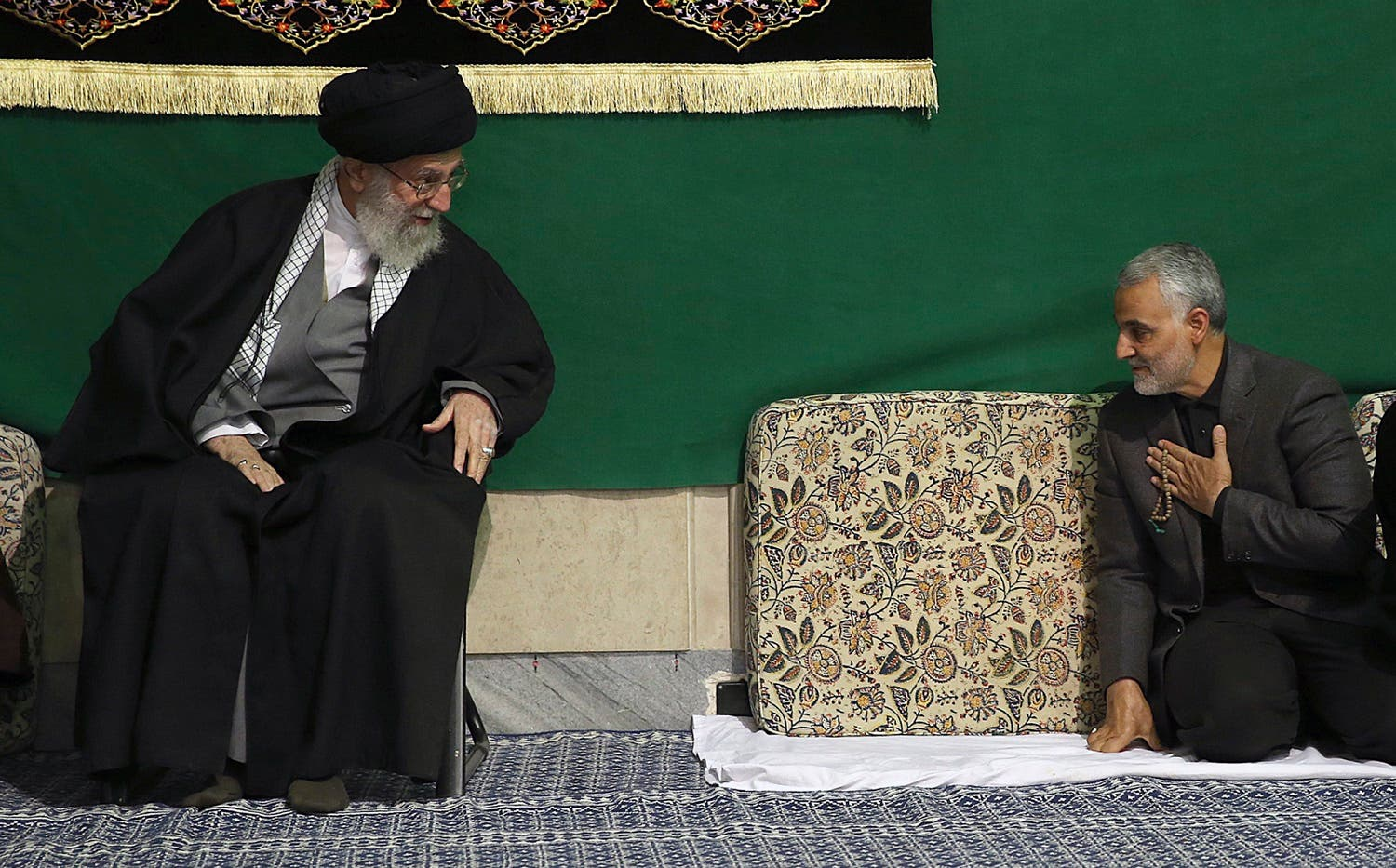 In this March 27, 2015 file photo Qassem Soleimani greets Supreme Leader Ayatollah Ali Khamenei in Tehran, Iran. (AP)
